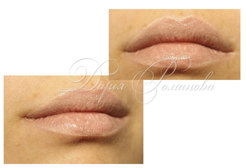 Бежевый перманентный макияж губ в стиле нюд. Мастер ставит перед собой задачу сделать губы клиентки естественными и натуральными.