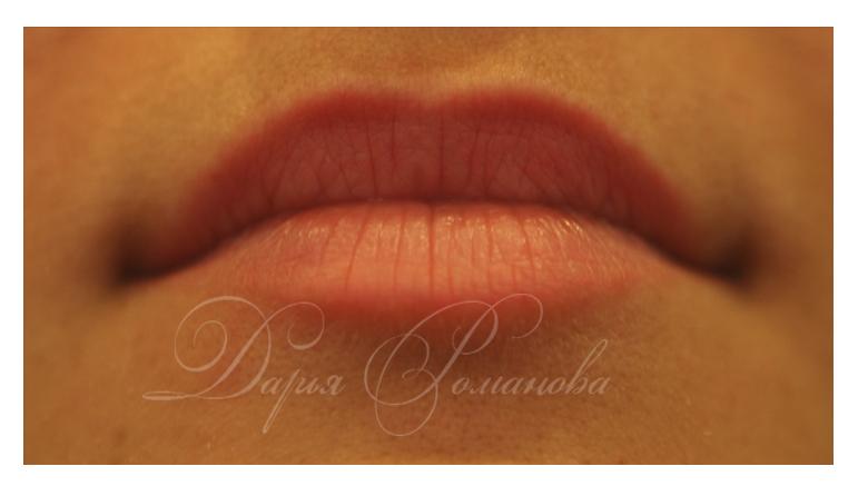 Персиковый перманентный макияж, работа зажившая.